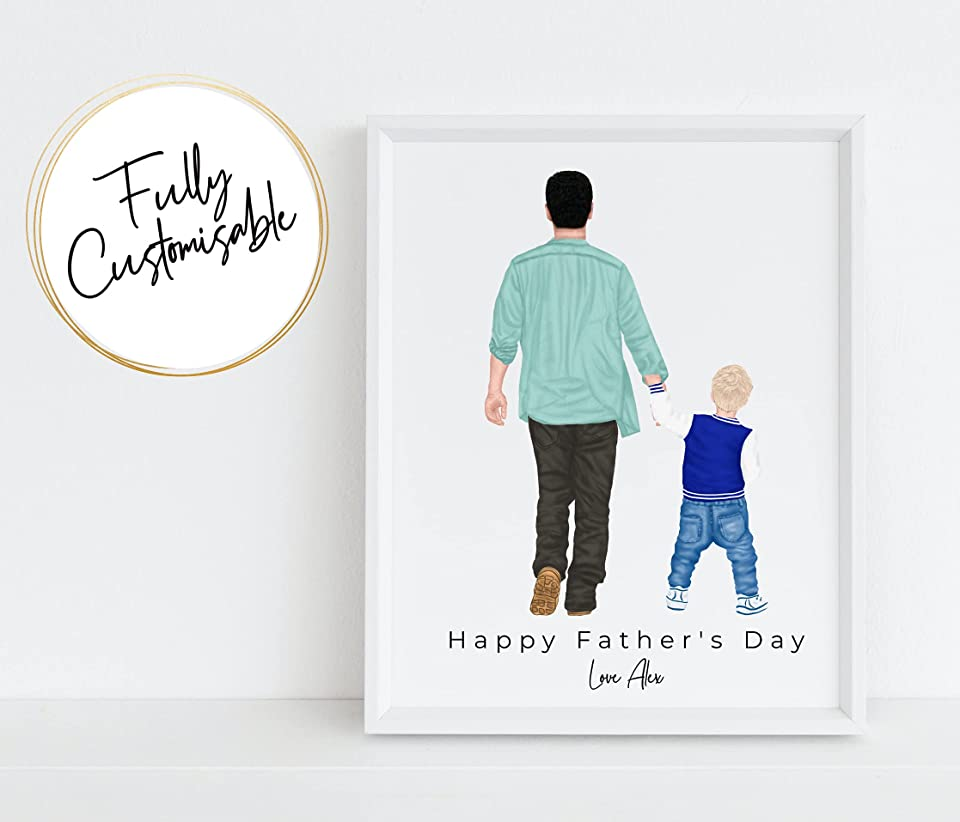 Father and Son Print, Dad Gift, Gift for Father, Custom Family Portrait, Father's Day Gift from Son Happy Father's Day, gift for Dad, Custom Illustration