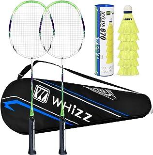 QICHUAN Whizz - PLS ADD The Birdies to CART - Carbon Fiber Shaft Badminton Racket Set for Adults, w/ 6 Nylon Birdies (Extra)
