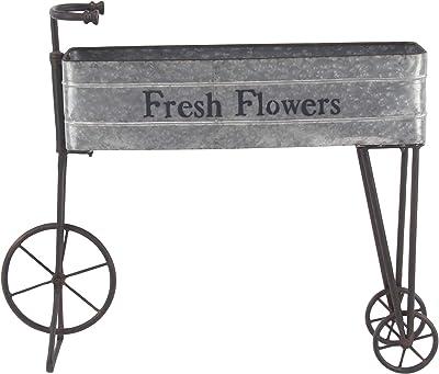 "Deco 79 86938 Farmhouse Metal Bike Planter, 9"" W x 34"" H, Iron Gray, Black"