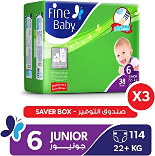Fine Baby Diapers Mother's Touch Lotion, Junior 22+ Kgs, Jumbo Pack, 114 Count