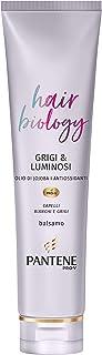 Pantene Pro-V Balsamo Purple Capelli Anti Giallo Hair Biology Grigi & Luminosi, 160 ml, per Capelli Bianchi e Grigi