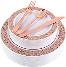 150pcs Rose Gold Plates, Rose Gold Plastic Silverware, Party Plates with Rose Gold Rim, Lace Plastic Plates, Plastic Flatw...