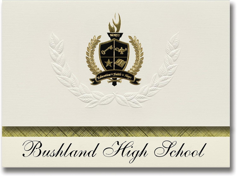 Signature Ankündigungen BUSHLAND High School (BUSHLAND, TX) Graduation Ankündigungen, Presidential Stil, Elite Paket 25 Stück mit Gold & Schwarz Metallic Folie Dichtung B078VCXM6K   | Fein Verarbeitet