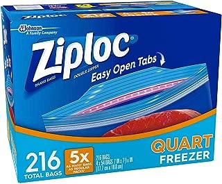 Double Zipper Quart Freezer Bags, Mega Pack 216 Count