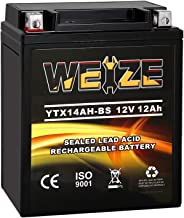 Weize YTX14AH-BS High Performance - Maintenance Free-Sealed AGM ATV Motorcycle Battery For Polaris Sportsman 500 570 Trail...