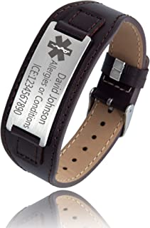 Personalized Custom Free Engraved Brown Black Leather Stainless Steel Bracelet Cuff for Men Women