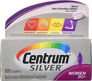 قرص مكمل متعدد الفيتامينات للنساء (100 قطعة)، فيتامين دي 3، العمر 50 +
