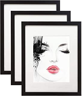 elabo 11x14 Black Picture Frame (3 Pack) - High Definition Plexiglass Display Pictures 8x10 with Mat or 11x14 Without Mat...