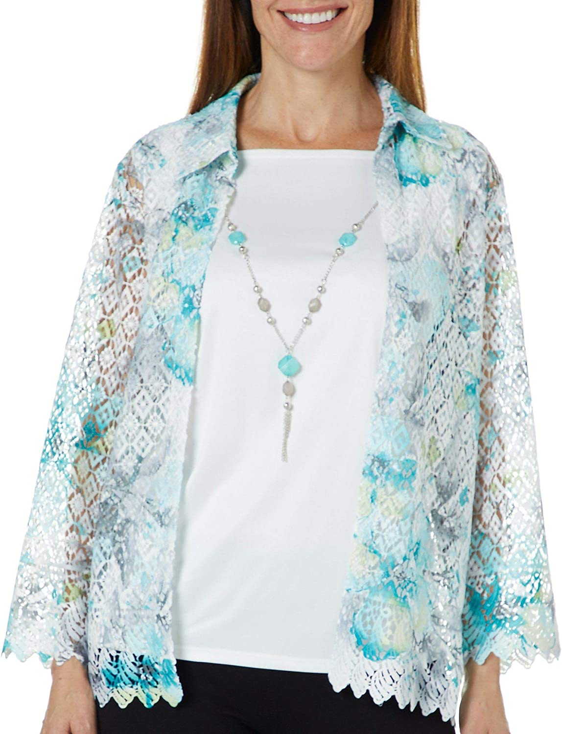 Alfred Dunner Womens Versailles Floral Lace Duet Top