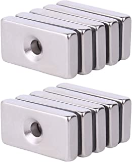 Neodymium Rectangular Pot Magnets with Counter Bore, Countersunk Hole Magnets with Mounting Screws-30x15X5MM (10 Pack) (30x15x5)