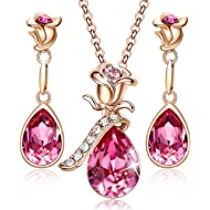 CDE Necklace Earrings Set for Women Christmas Jewelry Gifts 18K Rose Gold Plated Jewelry Sets...