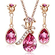 CDE Necklace for Women 18K Rose Gold Plated Jewelry Set Embellished with Crystals from Swarovski...