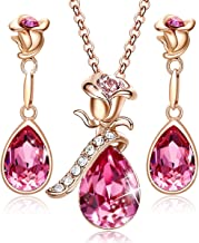 CDE Necklace Earrings Set for Women Christmas Jewelry Gifts 18K Rose Gold Plated Jewelry Sets Embellished with Crystals from Swarovski
