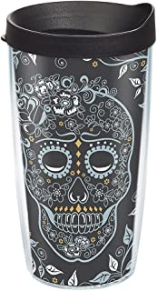 Tervis 1268988 Fiesta - Skull and Vine Tumbler with Wrap and Black Lid 16oz, Clear