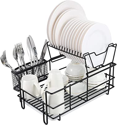 TQVAI 2 Tier Dish Drying Rack(Set of 4) Large Separable Dish Drainer Plates Strainer with Cutlery Holder Drainboard, Black