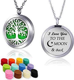 YOUFENG Essential Oil Necklace Diffuser Family Tree of Life Necklace Pendant Aromatherapy Locket Gifts