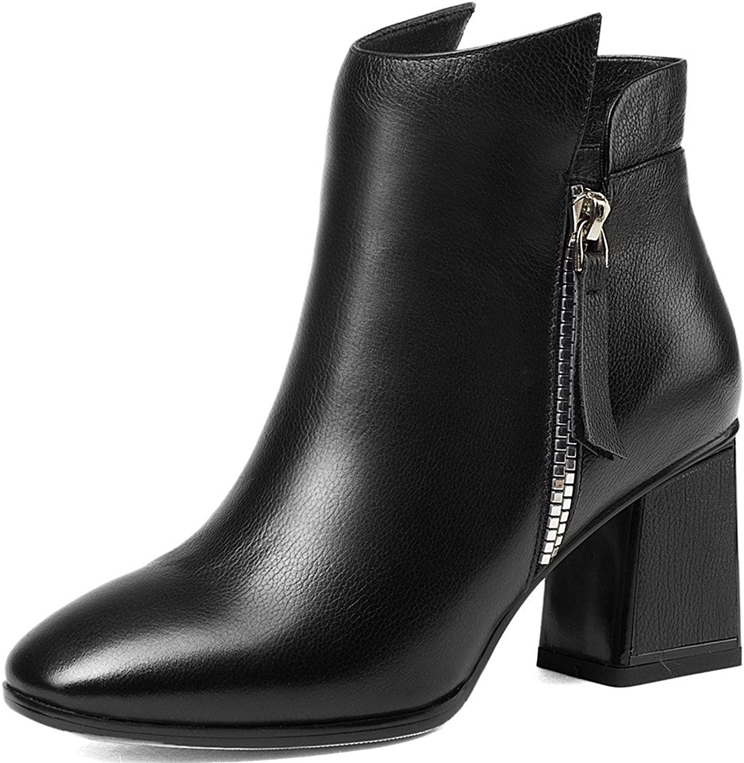 Nine Seven Genuine Leather Women's Round Toe Chunky Heel Business Handmade Classic Ankle Boots