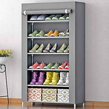 Sasimo Multipurpose Portable Folding Shoes Rack 6 Tiers Multi-Purpose Shoe Storage Organizer Cabinet Tower with Iron and Nonwoven Fabric with Zippered Dustproof Cover (6_Grey)(Shoes Rack for Home)