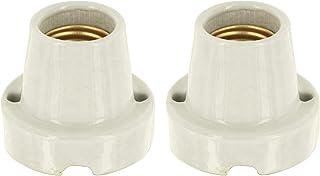 Pack de 2 lámparas de cerámica de porcelana dura E27 - Basic de color blanco natural - máx. 1000 W, por ejemplo, para terrarios.