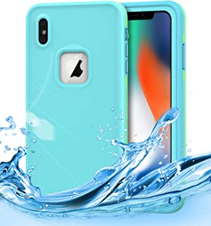Dailylux iPhone Xs Max Waterproof Case,iPhone Xs Max Shockproof Full-Body Rugged Cover IP68 Certified Snowproof Shockproof Dustproof Built-in Screen Protector for iPhone Xs Max 6.5 inch,Mint Green