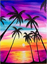 Adults' Paint by Number Kits for Full Drill DIY 5D Diamond Painting,Crystal Rhinestone Diamond Embroidery Pictures Arts Craft for Home Wall Decor,Sunset Beach Coconut Trees