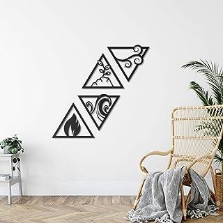 WALLCENTRE ART BEYOND IMAGINATION Metal 4 Element Triangle Shape Wall Art - Hanging Showpiece for Living Room, Decorative ...