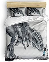 Libaoge Duvet Cover Full Size - Hand Painted Lovely Baby Boy Touching Trex Dinosaur in The Forest Comforter Quilt Cover with Zipper Closure, Ties - Modern 4 Pcs Bedding Set for Men/Women/Kids