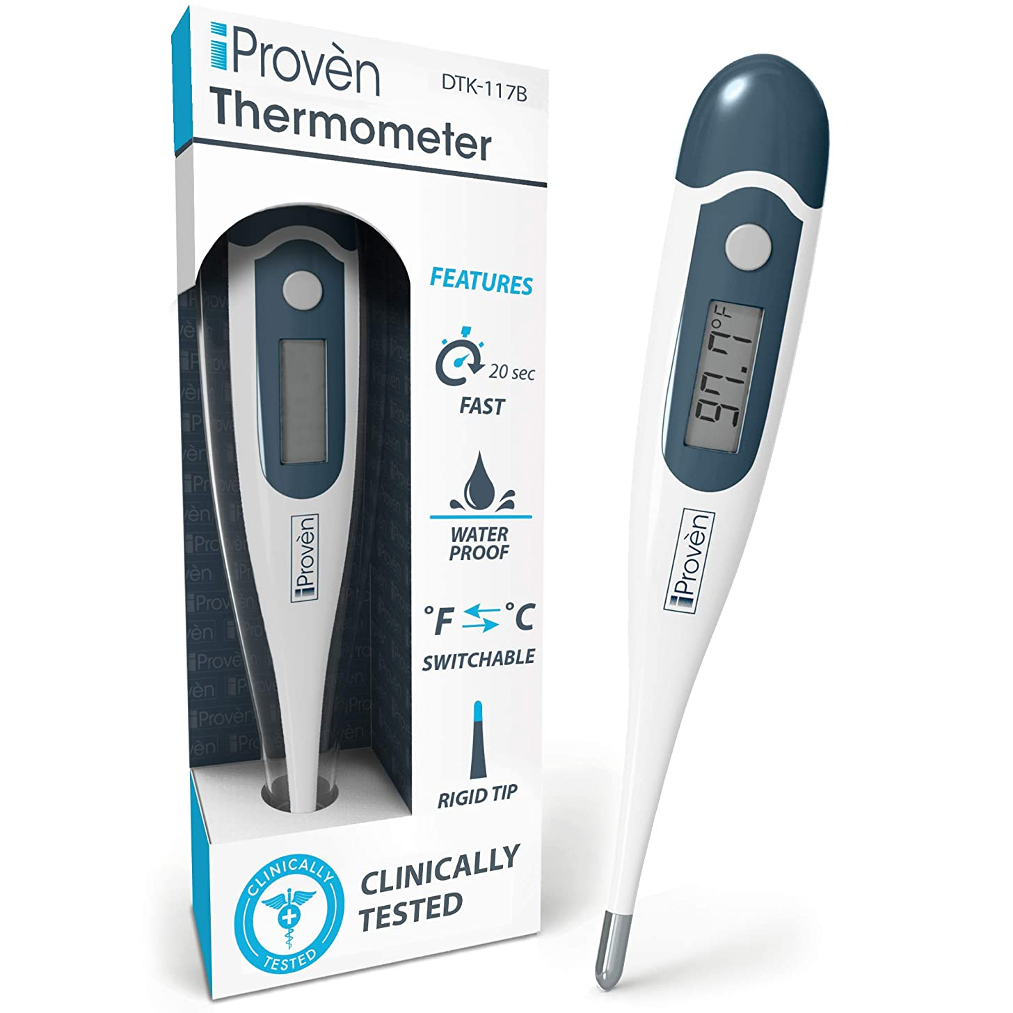 [New Version] iProvèn's Digital Oral Thermometer for Fever - Highly Accurate & Fast Readings - with Fever Alarm & Waterproof - iProvèn's DTK-117B