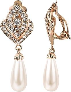 Yoursfs Clip On Dangle Earrings for Women Cubic Zirconia wedding Bridal Pearl Clip-On Earrings