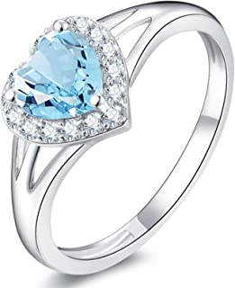 Gnzoe Jewelry-Womens Rings Sterling Silverpromise Engagement Ring Blue Created-Topaz December Birthstone