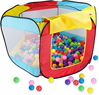 Hexagon Pop Up Ball Pit Tent | Includes 100 Balls and Breatheable Mesh Netting for Safe Fun | Comes with Carrying Case for...