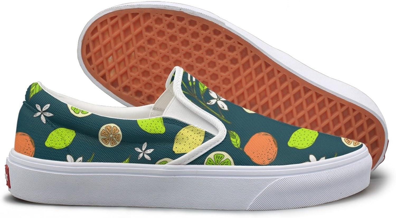 SEERTED Citrus Pattern with Yellow Lemons Slice Slip On Sneakers Women
