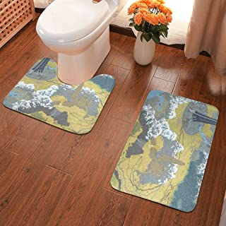 Middle Earth Map Mountain Game Bath Mats 2 Pack Memory Foam Non-Slip Bathroom Rug Contour Mat Lid Cover Fast Dry Washable Bath Rugs Carpet