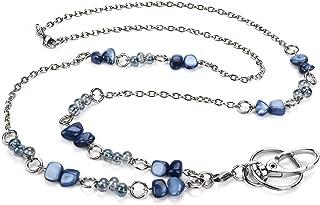 LUXIANDA Beautiful Women's Fashion Beads Lanyard for Nurse, Teacher and OL, ID Lanyard for Keys, Phone, ID Badge Holder, Stainless Steel Chain