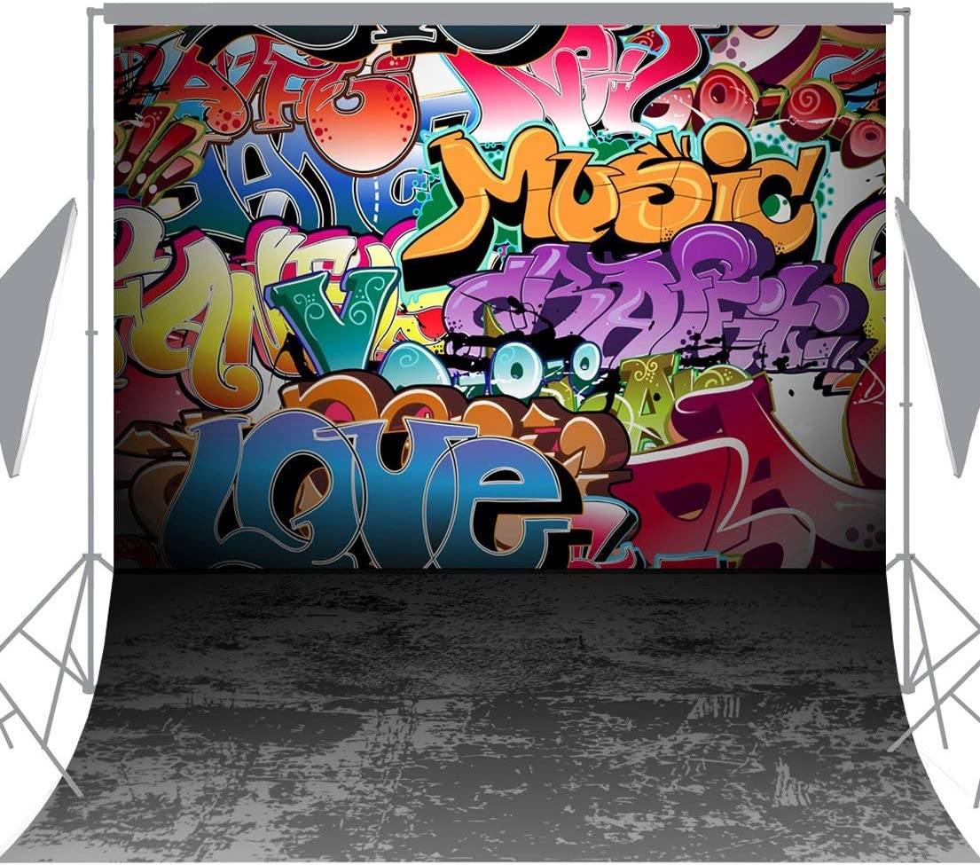 CdHBH 6X9FT Seamless Wall Graffiti Style Pictorial Cloth Photography Background Computer-Printed Vinyl Backdrop TG01