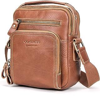 "Sponsored Ad - Contacts Mens Genuine Leather Crossbody Shoulder Messenger Bag for 7.9"" iPad Handbag (Brown)"