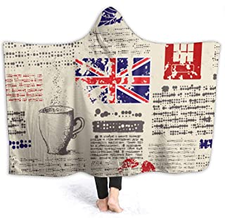 British Newspaper Throw Wrap for Sofa Couch Winter/Autumn, Soft Cozy Sherpa Plus Velvet Hooded Blankets Throw Wearable Cuddle - 60x80 inch