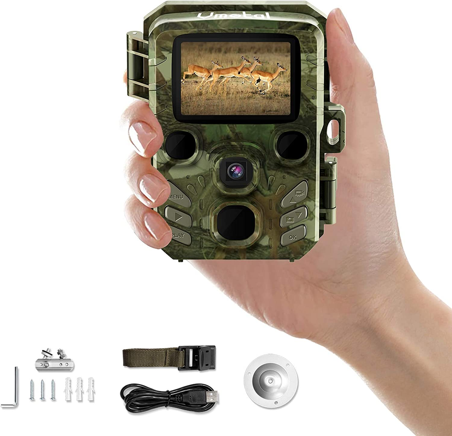 Mini Trail Camera Game Cam with Night Vision Motion Activated Waterproof Wildlife Hunting Monitoring 1080P HD 16MP IR LEDs Infrared Hunting Cam with 2