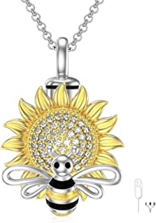 Infinity/Bee Sunflower/Unicorn/Hummingbird Cremation Urn Necklace for Ashes 925 Sterling Silver Always & Forever Heart Jew...
