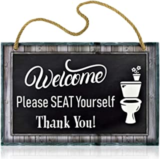 Bigtime Signs Funny Restroom Sign for Bathroom - Welcome, Please Seat Yourself - 11.5 x 7.5 Inches Rigid PVC with Rope