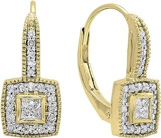 Dazzlingrock Collection 0.50 Carat (ctw) 14K Gold Princess & Round Diamond Ladies Cluster Halo Style Drop Earrings 1/2 CT