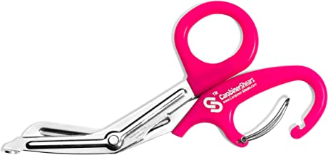EMT Trauma Shears with Carabiner - Stainless Steel Bandage Scissors for Surgical, Medical & Nursing Purposes - Sharp Curved Scissor is Perfect for EMS, Doctors, Nurses, Cutting Bandages (Pink)