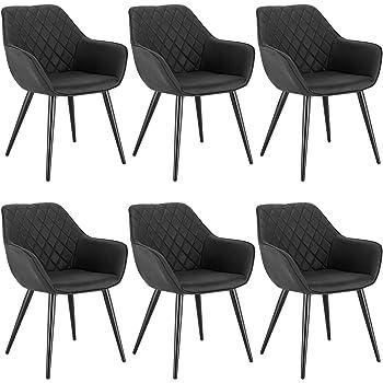 WOLTU 6 x Esszimmerstühle 6er Set Esszimmerstuhl Küchenstuhl Polsterstuhl Design Stuhl mit Armlehne, mit Sitzfläche aus Stoffbezug, Gestell aus Metall, Anthrazit, BH224an-6