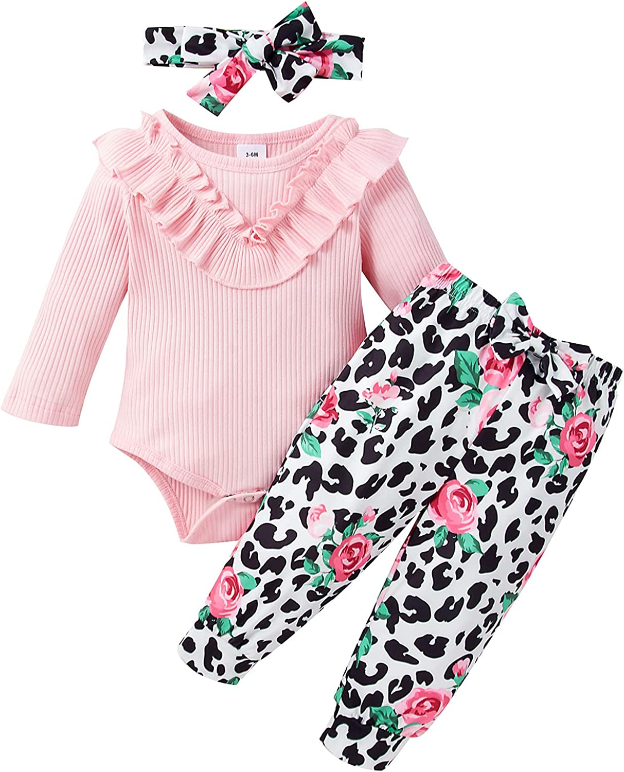 Newborn Infant Baby Girl Clothes Ruffle Long Sleeve Romper Floral Pant Headband Fall Ribbed Outfit Set
