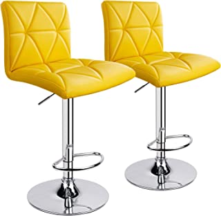 Leader Accessories Bar Stool, Hydraulic Square Back Diagonal Line Adjustable Bar Stools, Set of 2 (Yellow)