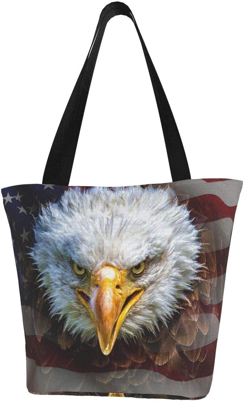Handsome Hawk'S Head American Flag Patriot Themed Printed Women Canvas Handbag Zipper Shoulder Bag Work Booksbag Tote Purse Leisure Hobo Bag For Shopping
