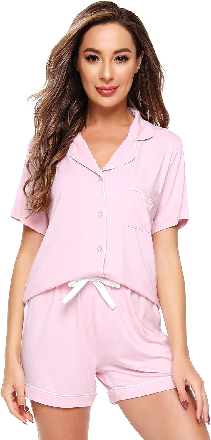 WiWi Womens Pajamas Set Industry Cheap super special price No. 1 Soft Short Shorts Butto Sleeve Sleepwear
