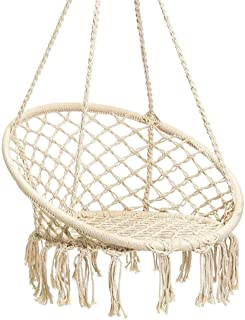 Karriw Hammock Chair Macrame Swing,Cotton Hanging Macrame Hammock Swing Chair Ideal for Indoor, Outdoor, Home,Bedroom, Patio, Deck, Yard, Garden (Beige)