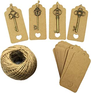 Mmei Set of 40 Vintage Bronze Skeleton Key Charm with Kraft Paper Gift Tags and 30 Yards Natural Jute Twine for Wedding Decoration Favor DIY Crafts (Mix - Bronze)