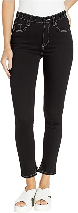 Black Denim Skinny Jeans w/ Embroidered Waistband